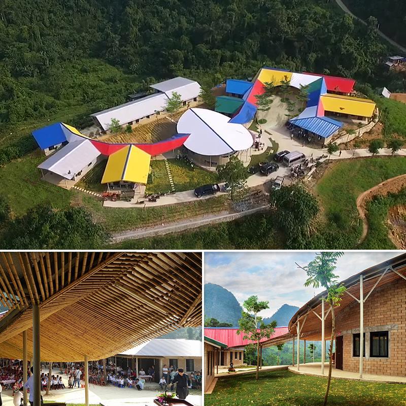 โรงเรียนอเนกประสงค์สีสวยกลางหุบเขาของชาวม้งในเวียดนามเหนือ