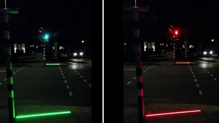 +Lightline แถบสัญญาณไฟบนทางเท้าแจ้งไฟแดงไฟเขียวสำหรับสังคมก้มหน้าในเนเธอร์แลนด์