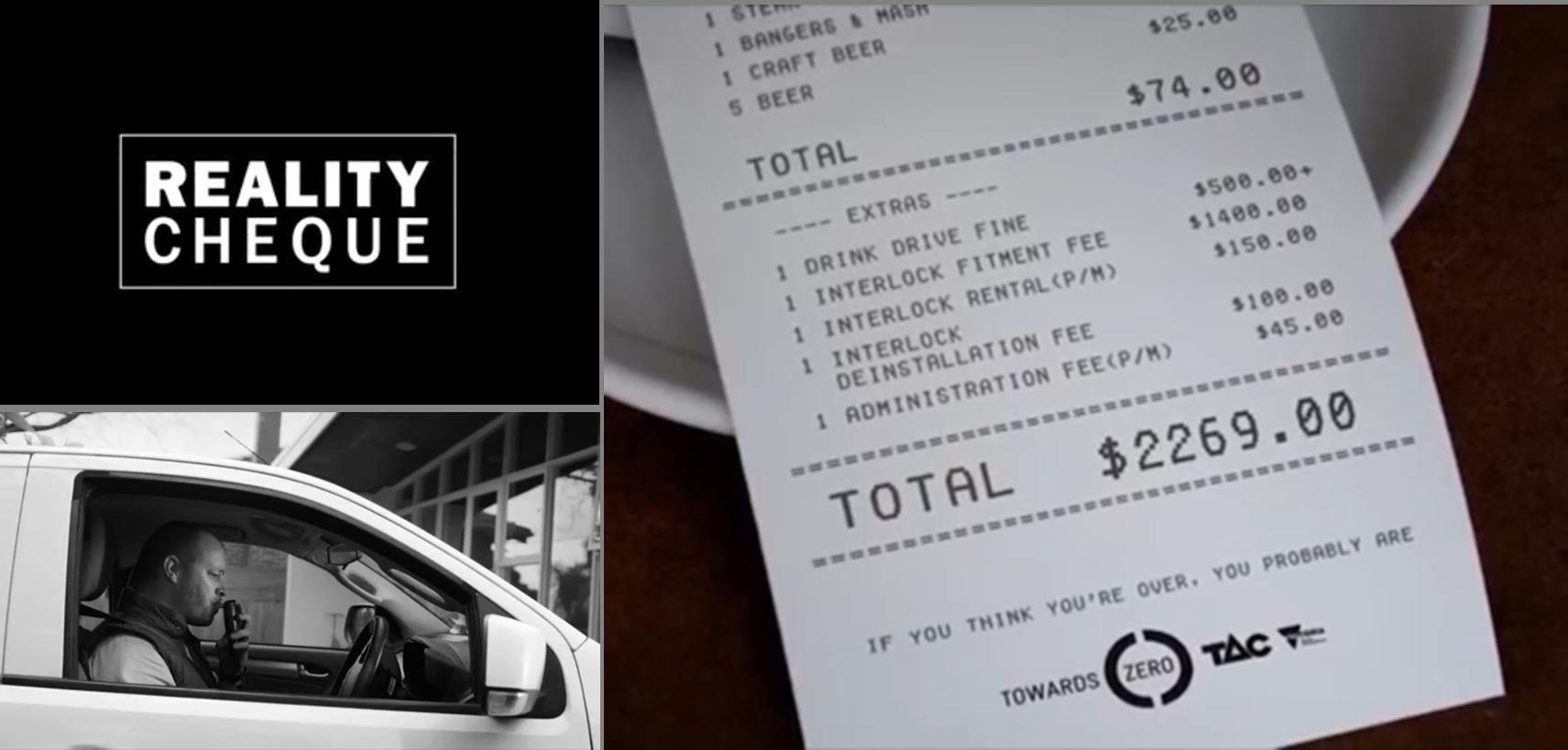 Reality Cheque แผนเตือน 'เมาไม่ขับ' ผ่านบิลค่าอาหารแพงยับเหยียบแสน!