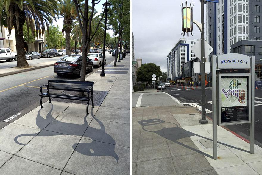 Shadow Art เปลี่ยนเมืองตากอากาศน่าเบื่อให้เป็นถนนแห่งศิลปะน่ารักยียวน