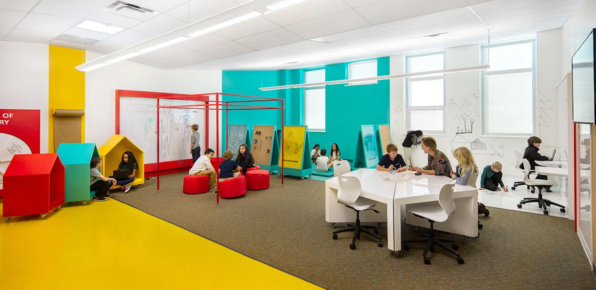 ต้นแบบห้องเรียนสำหรับศตวรรษที่ 21 ห้องเดียว ห้าโซน ฟรีสไตล์ เสริมสร้างสรรค์และจินตนาการ