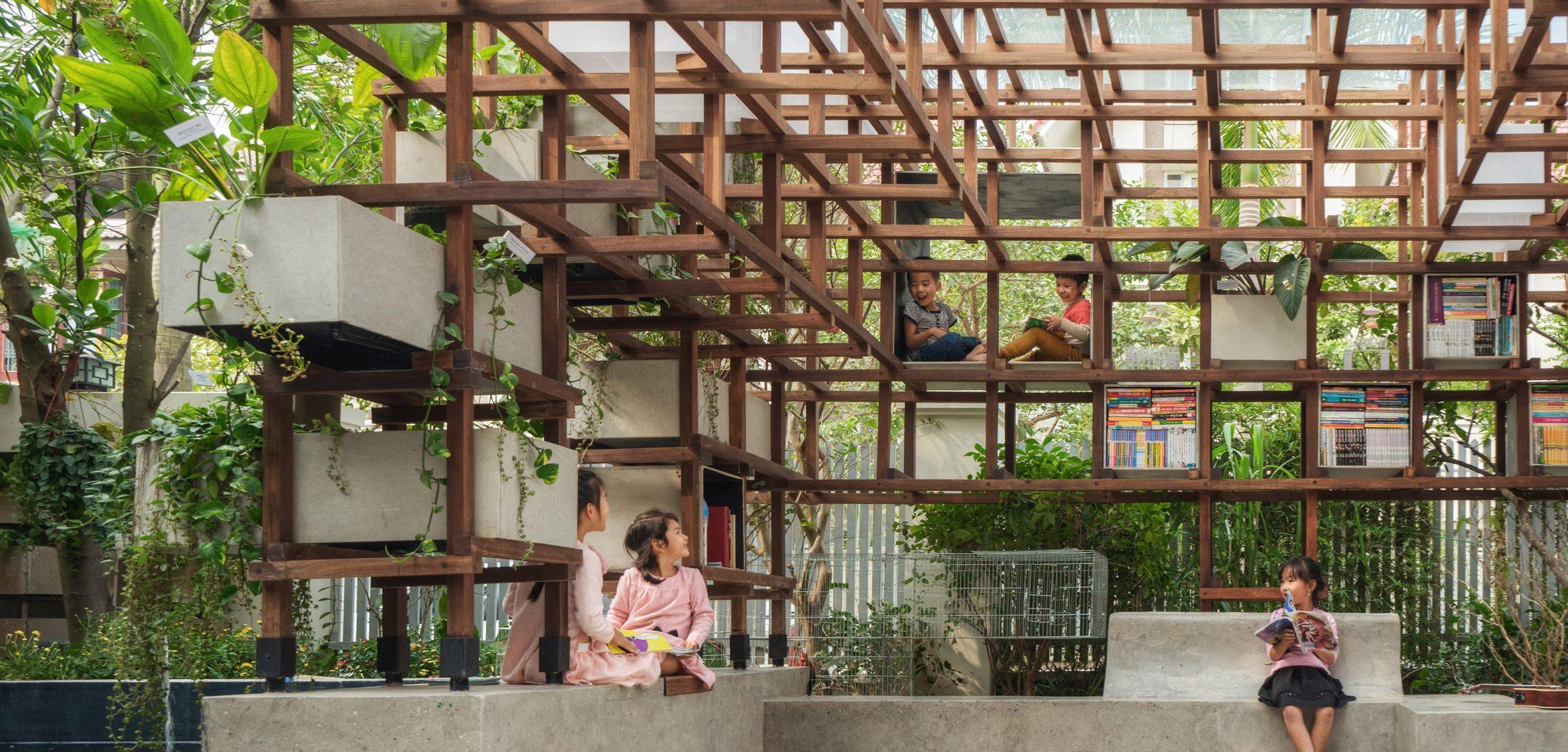 VAC-Library ห้องสมุดกลายเป็นห้องสนุกด้วยเกษตรแบบผสมผสานในกรุงฮานอย
