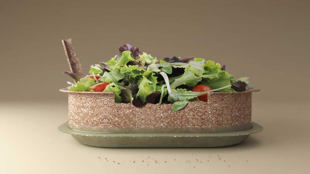 Reuse ชามสลัดจากเปลือกข้าวสาลี…กินได้…แถมย่อยสลายได้ 100%